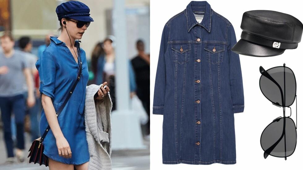STJEL STILEN: Gjør som skuespiller Anne Hathaway og style denimkjolen med skipperhatt denne våren! Foto: Scanpix, Produsentene, Net-a-porter.com