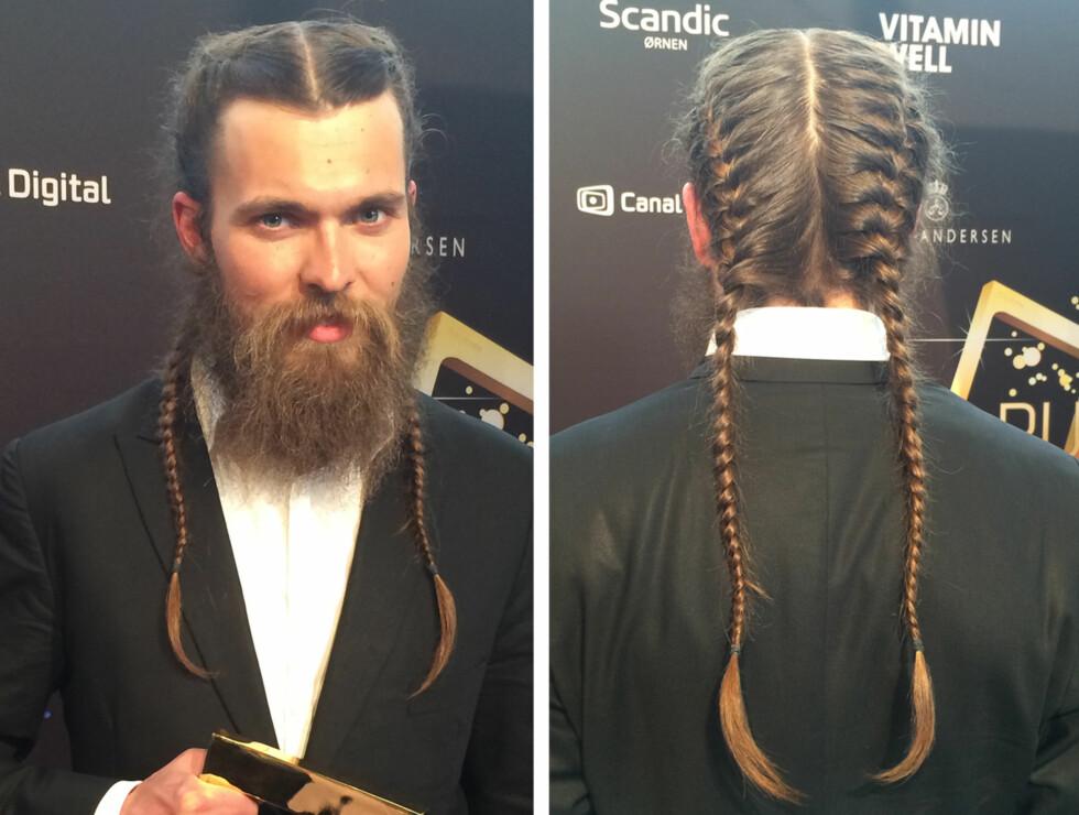 DOBBEL FLETTE: Enok Grovens lange hår var flettet i to hodebunnsfletter som strakte seg nedover ryggen. Foto: Hanne Kathrine Bratholt/Aller Media
