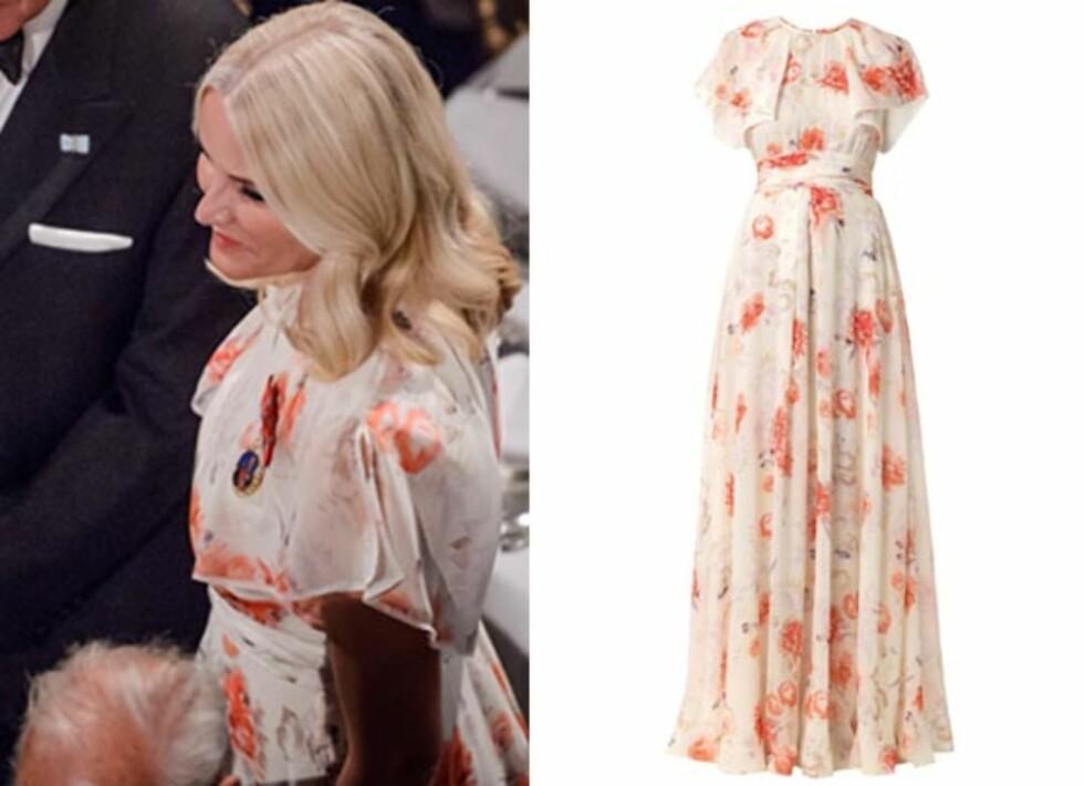 <strong>KJOLEN:</strong> På torsdagens bursdagfest i Danmark, stilte Mette-Marit i en nydelig kjole fra Giambattista Valli. Prisen på kjolen er cirka 28.000 kroner. Foto: NTB Scanpix og produsenten