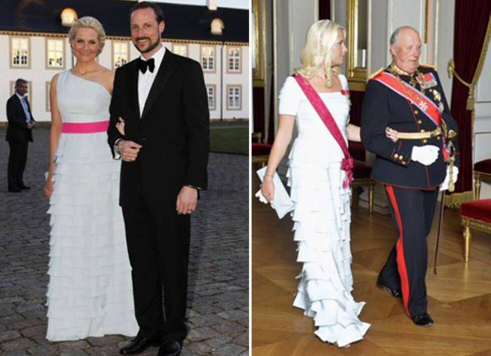 <strong>REDESIGNET KJOLE:</strong> Ved to anledninger har Mette-Marit brukt denne fantastiske kjolen fra Nina Skarra. Første gang i dronning Margrethes 70-årsdagen, andre gang under et statsbesøk. Foto: NTB Scanpix