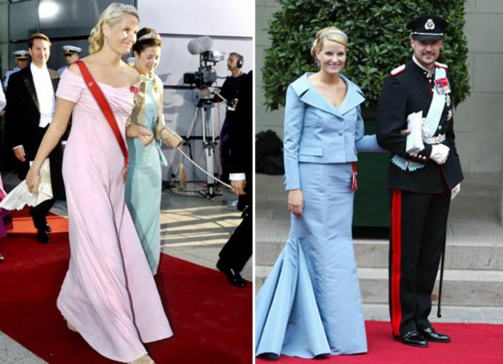 <strong>PASTELLFARGER:</strong> Dette ser ut til å være en sikker vinner for Mette-Marit. I 2008 kom hun i bryllup en nydelig rosa kjole, mens hun fire år tidligere kom i bryllup i en blå Valentino-kjole. Foto: NTB Scanpix