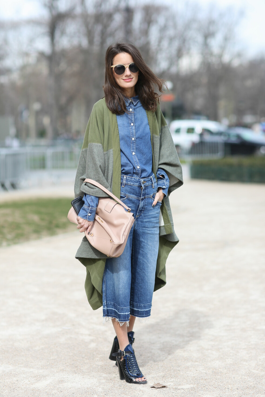 Den populære dobbel-denimtrenden gjort med culottes. Foto: Scanpix