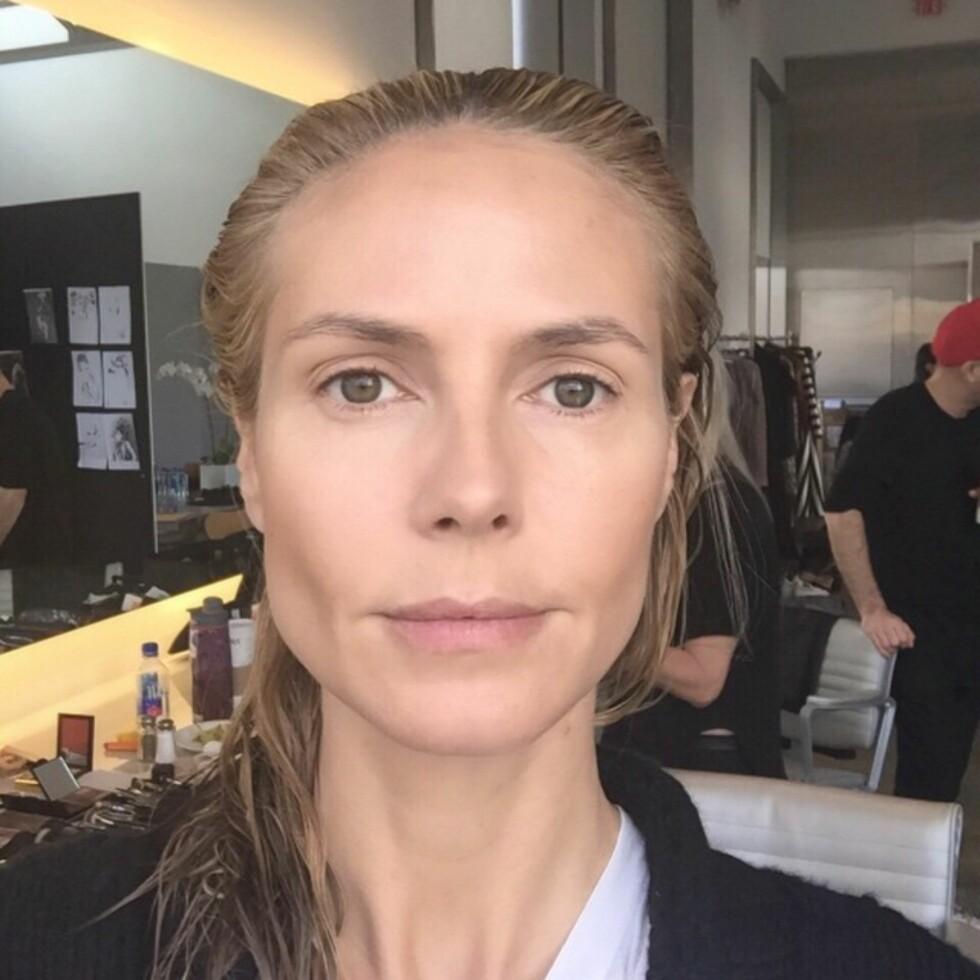 FØR SHOOTEN: Heidi Klum før styling - naturlig, med vått hår.  Foto: SipaUSA