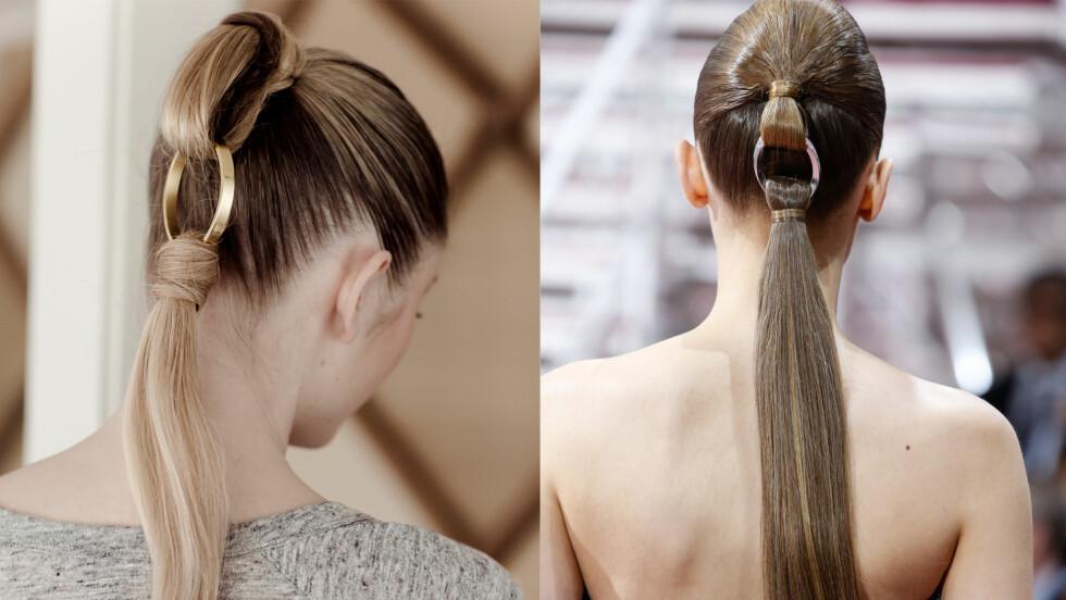 <strong>SNAKKIS:</strong> Både smart og lekker måte å lage hestehale på. Vår modell på bildet til venstre - Dior på bildet til høyre.  Foto: Astrid Waller og Allover Press