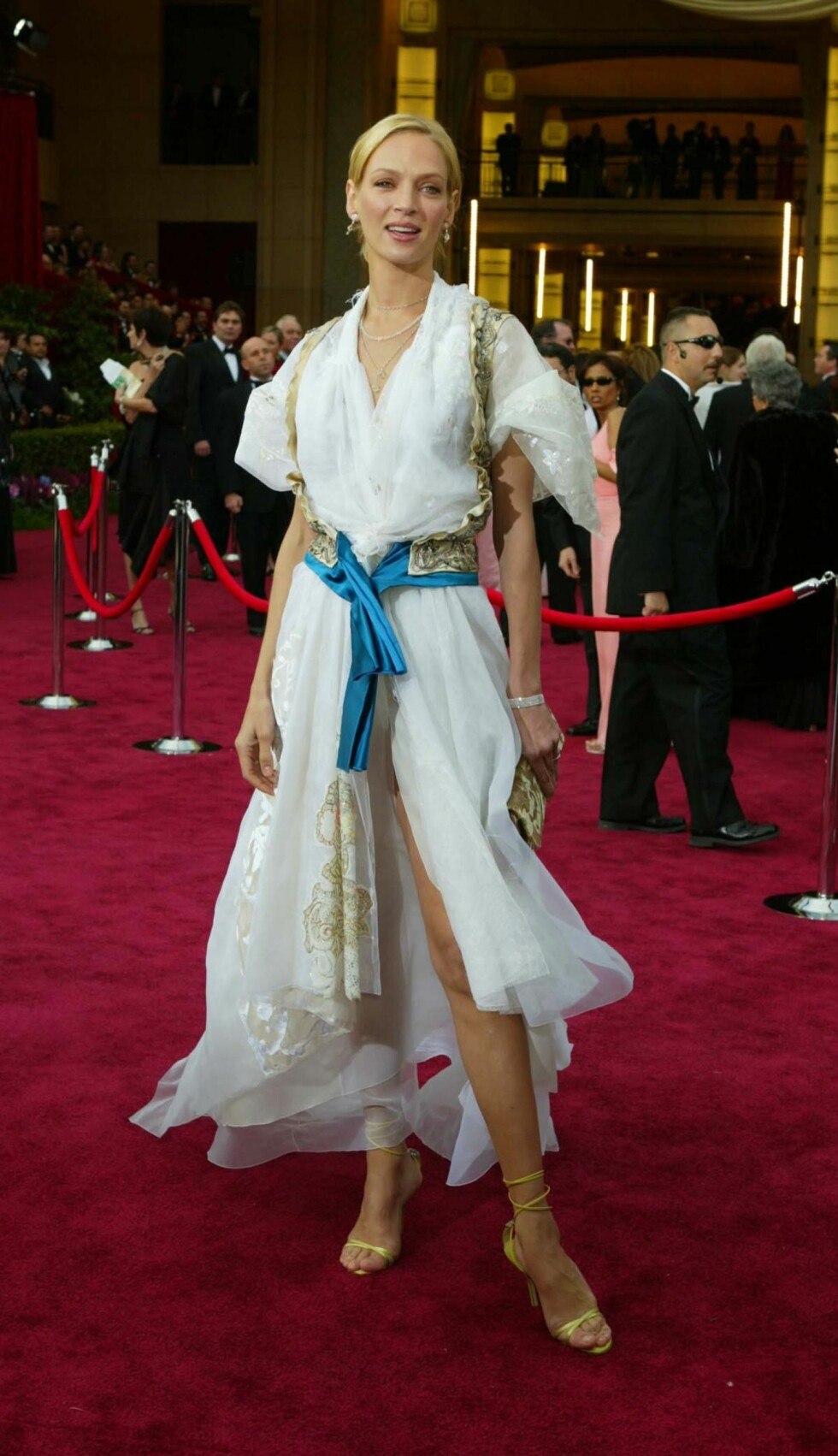 """Celebrities arrive at the 76th Annual Academy Awards® that was held at the Kodak Theatre in Hollywood on Sunday, February 29, 2004 Shown here is Uma Thurman  Pictures by Russell Einhorn                  Ref: RE 290204 A   The Oscar statuette is the copyrighted property of the Academy of Motion Picture Arts and Sciences, and the statuette and the phrases """"Academy Award(s)"""" and """"Oscar"""" are registered trademarks under the laws of the United States and other countries. All published representations of the Award of Merit statuette, including photographs, drawings and other likenesses, must include the legend ©A.M.P.A.S.® to provide notice of copyright, trademark and service mark registration.   Los Angeles:310-821-2666 New York:212-619-2666 London:207-107-2666 photodesk@splashnews.com Foto: Russell Einhorn  / Splash News/ All Over Press"""