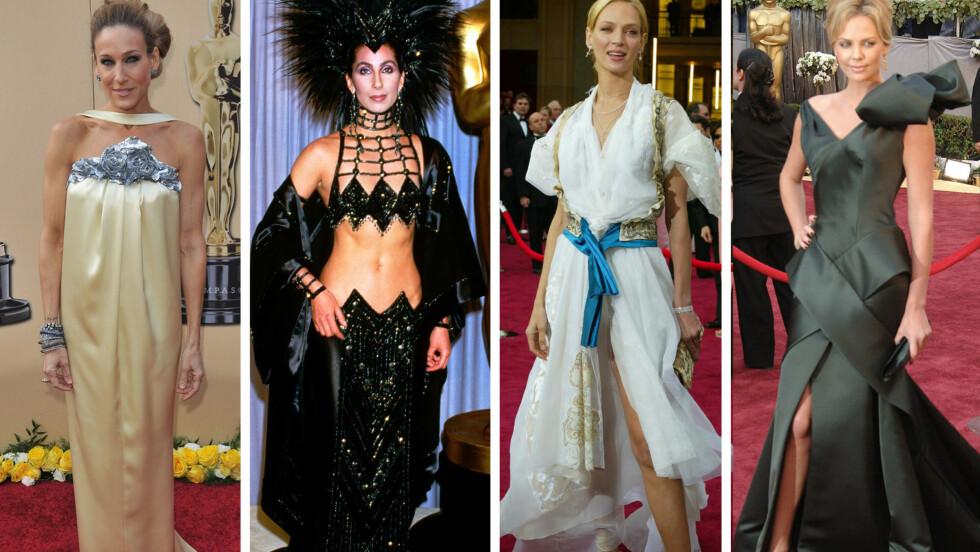 IKKE BEST KLEDD: Sarah Jessica Parker, Cher, Uma Thurman og Charlize Theron, som alle egentlig er vakre, velkledde damer, har havnet på verst kledd-listene etter Oscar-tidligere.  Foto: All Over Press
