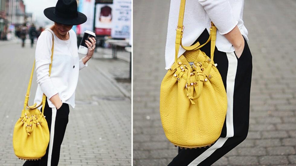 <strong>DAGEN BLOGGSTIL:</strong> STYLEmag-blogger Marie Murstad kombinerer svart og hvitt med et varfriskt smell av gult!  Foto: Outandaboutmarie.com
