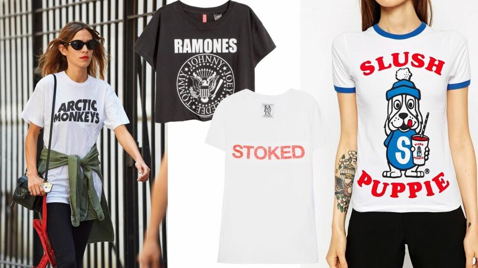 <strong>FÅ VINATGE-LOOKEN:</strong> Du trenger ikke saumfare bruktbutikkene for å få den retro looken - vi har funnet de kuleste vintage-inspirerte T-skjortene!  Foto: All Over, Net-a-porter.com, Asos.com
