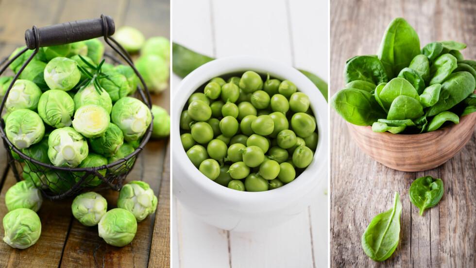 PROTEINRIKE GRØNNSAKER: Rosenkål, erter og spinat er proteinrike grønnsaker som du bør spise mer av.  Foto: Fotolia