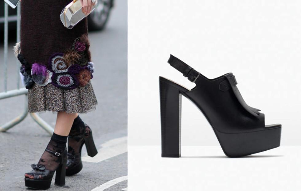 Nå skal skoene ha tykke hæler og kraftige såler - og det passer perfekt til vårens 70-tallsstil. Sko fra Zara, kr 959.  Foto: All Over, Produsentene