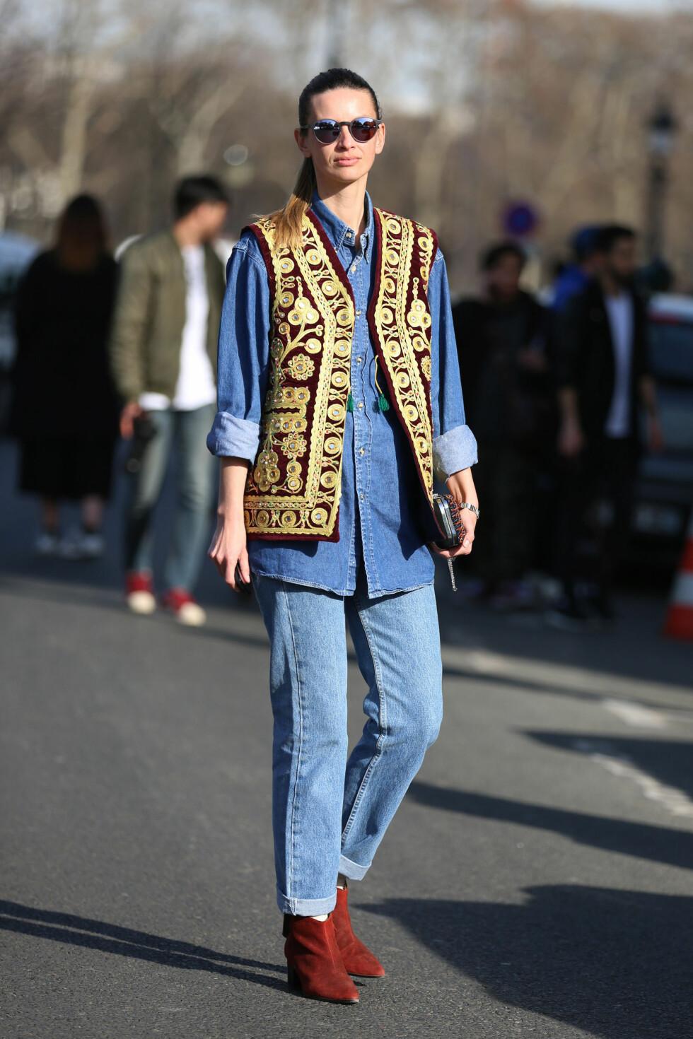 Dobbelbrett på lyse rette jeans. Foto: Silvia Olsen/REX/All Over Press