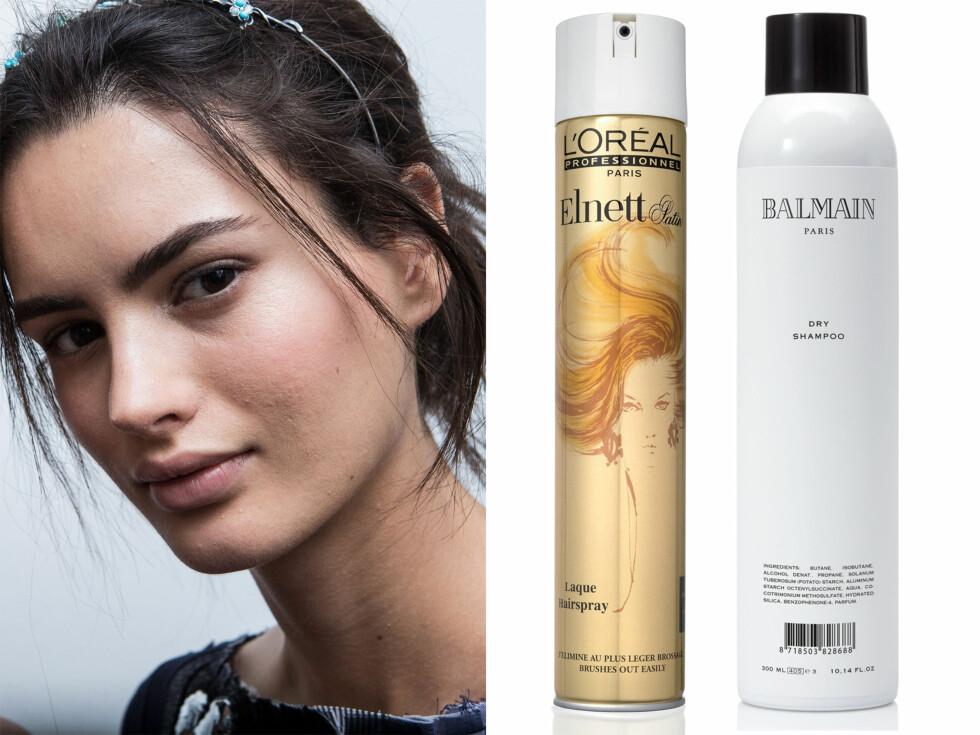 KNUTE: Tørrshampo (kr 300,Balmain Paris, Dry Shampoo) og hårspray (kr 110, L'Oréal, Elnett Satin Laque Hair Spray). Foto: Allover Press og produsentene
