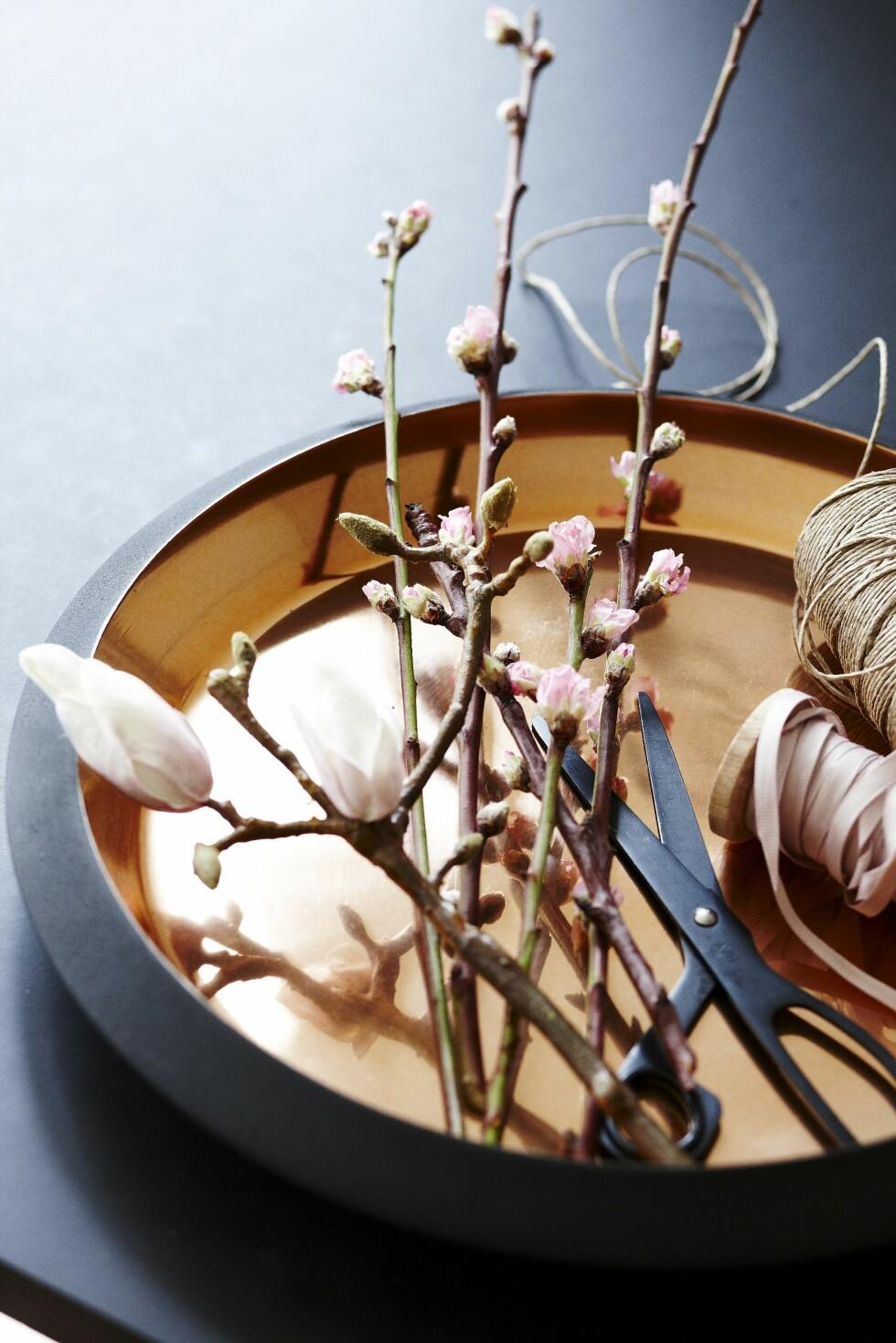 Å binde kvister sammen med et lekkert bånd er en super vertinnegave. Foto: Mette Wotkjær