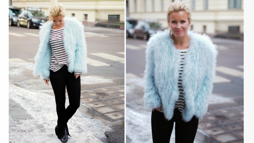 <strong>DAGENS BLOGGSTIL:</strong> STYLEmag-blogger Hedda Skoug topper hverdagslooken med en iøynefallende statement-jakke. Foto: Fashioncherry.blogspot.no