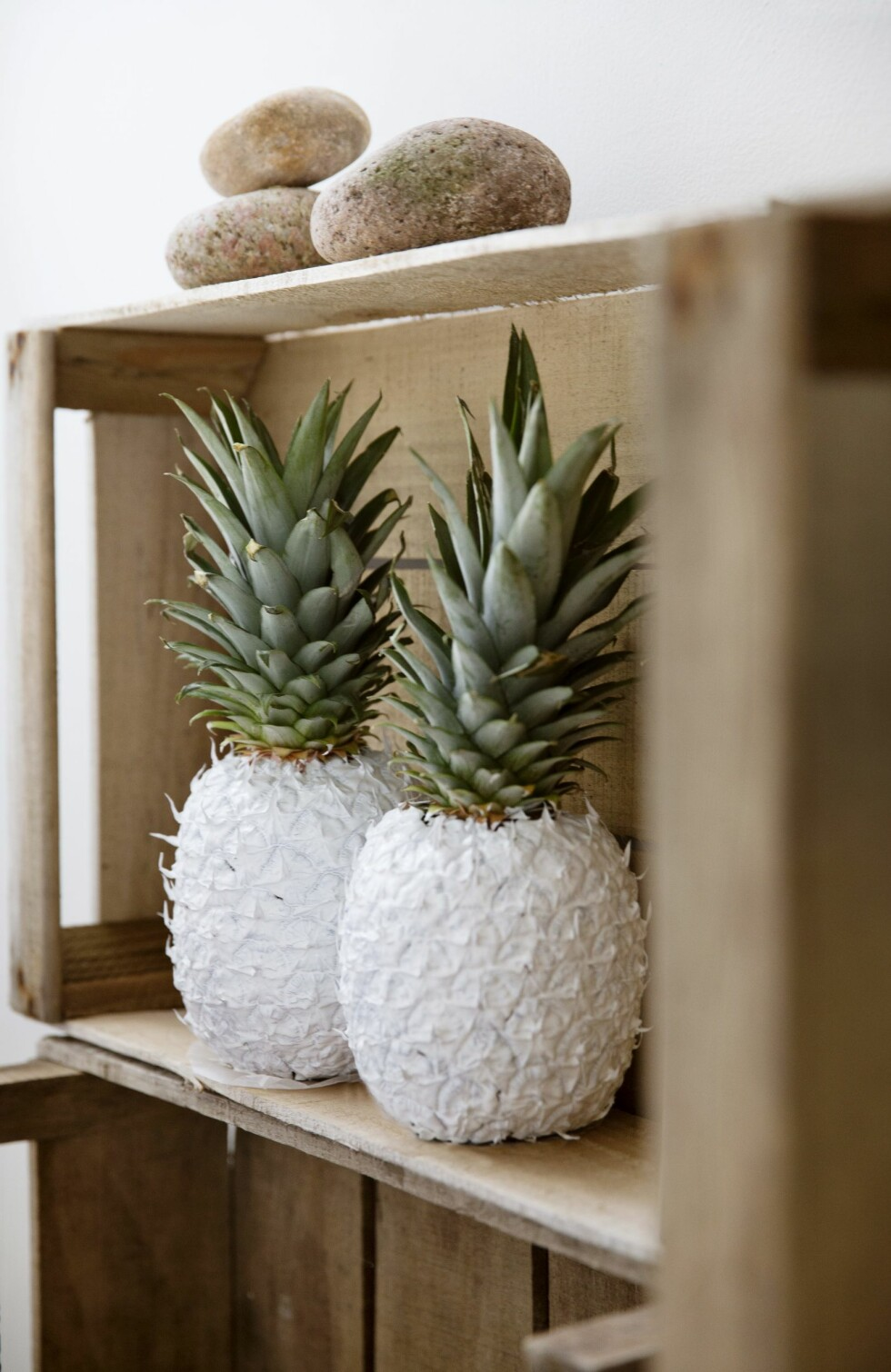 Jo, du ser riktig: Dette er ananas malt hvite med hobbymaling. Foto: Yvonne Wilhelmsen