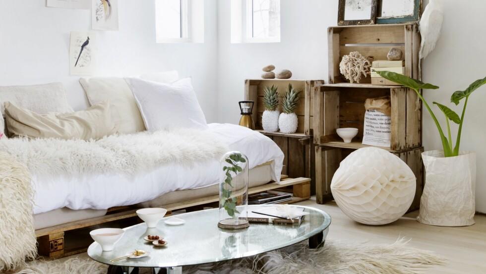 SÅ ENKELT, SÅ FINT: Nesten alt i denne stuen er gjenbruk! Foto: Yvonne Wilhelmsen