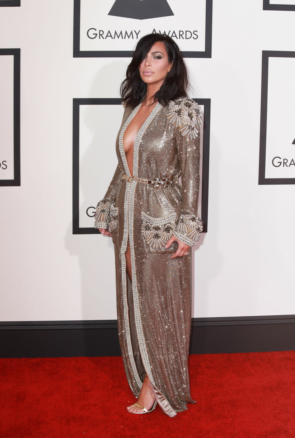The 57th Annual Grammy Awards red carpet on February 8, 2015 in Los Angeles, California.  Pictured: Kim Kardashian Ref: SPL945806  080215   Picture by: Splash News  Splash News and Pictures Los Angeles:	310-821-2666 New York:	212-619-2666 London:	870-934-2666 photodesk@splashnews.com  Foto: Splash News/ All Over Press