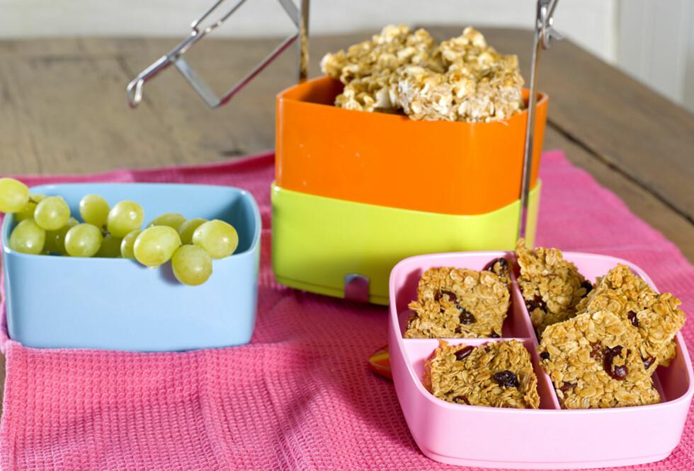 Havrekakene – eller flapjacks som det heter på originalspråket – er et supert alternativ til frokost. Foto: FruTimian.no