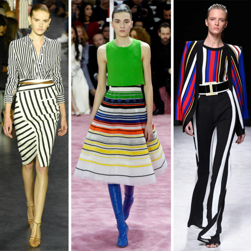 <strong>SPRING/SUMMER:</strong> Altuzarra, Christian Dior og Balmain med stripete antrekk. Foto: All Over