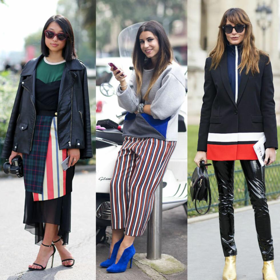 <strong>TRE MÅTER:</strong> Skjørt, bukse og jakke i rødt, hvitt og blått. Foto: All Over