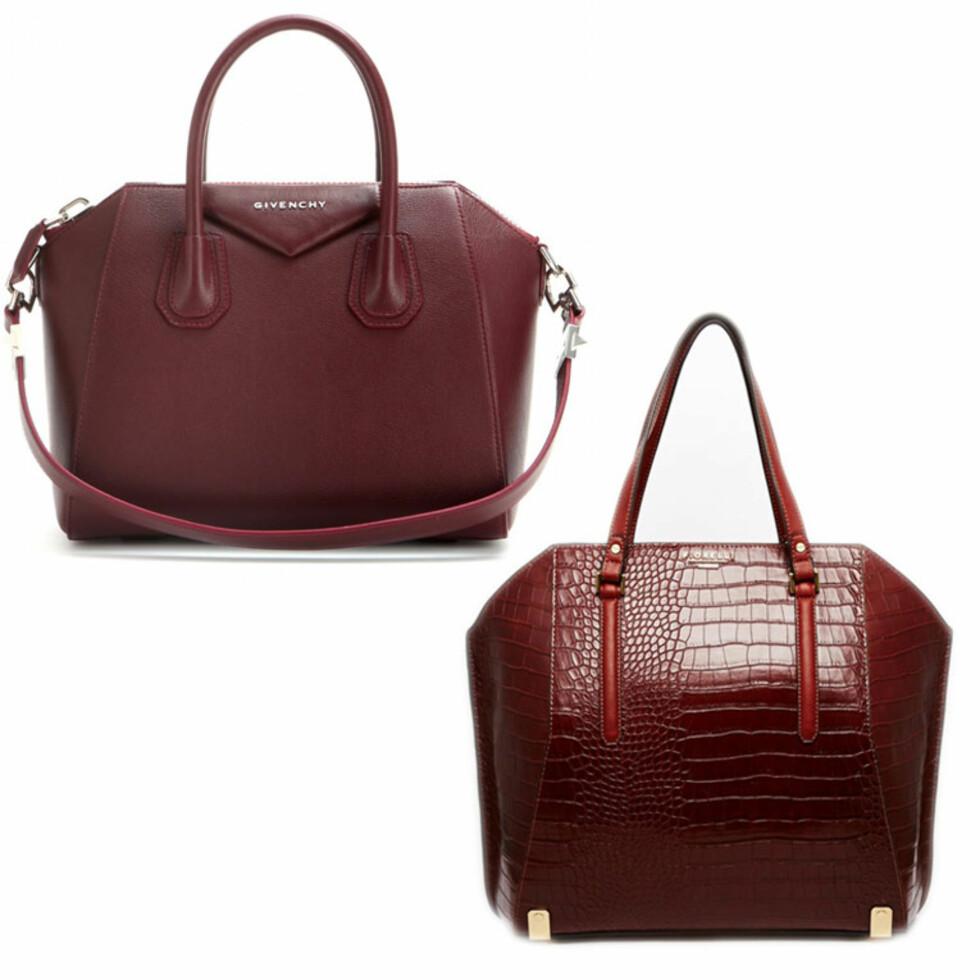 GIVENCHY VS. FIORELLI: Vesken øverst er fra Givenchy og koster 10984 kr. Vesken under er fra Fiorelli og koster 914 kr. Foto: Asos.com, Mytheresa.com.