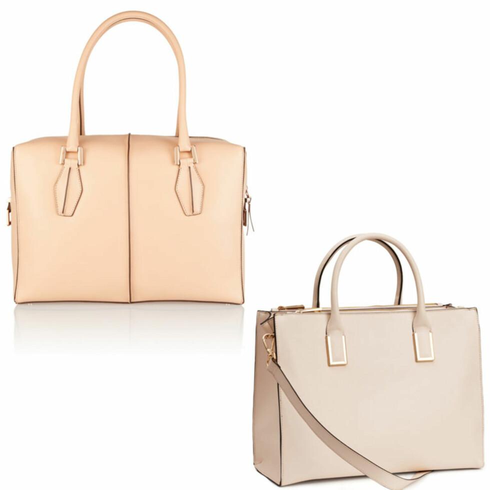 TOD'S VS. H&M: Vesken øverst er fra Tod's og koster 13625 kr. Vesken under er fra H&M og koster 399 kr. Foto: Net-a-porter.com, Produsenten.