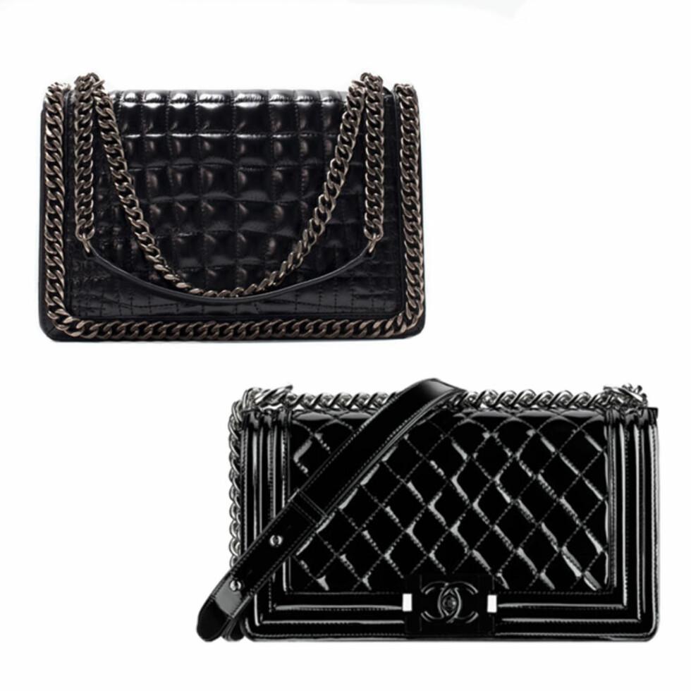 ZARA VS. CHANEL: Vesken øverst er fra Zara og koster 1199 kr. Vesken under er fra Chanel og koster fra 25000 kr. Foto: Produsentene.