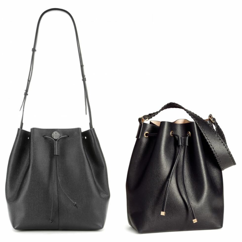 THE ROW VS. H&M: Vesken til venstre er fra The Row og koster 10872 kr. Vesken til høyre er fra H&M og koster 249 kr. Foto: Mytheresa.com, Produsenten.