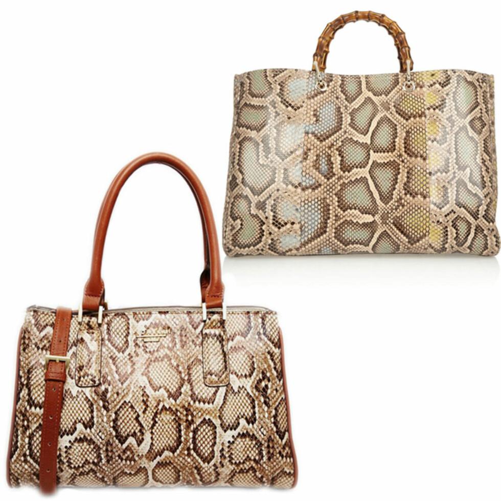 FIORELLI VS. GUCCI: Vesken til venstre er fra Fiorelli og koster 792 kr. Vesken til høyre er fra Gucci og koster 29317 kr. Foto: Asos.com, Net-a-porter.com.