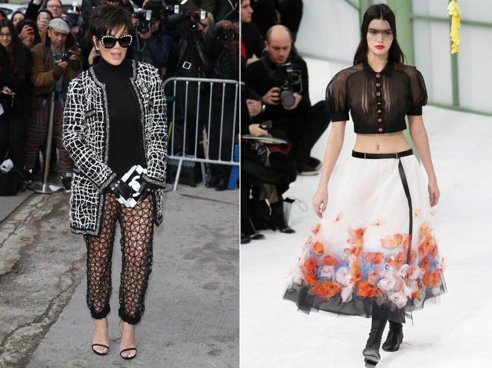 MAMMA VAR PÅ PLASS PÅ FØRSTE RAD: Kris Jenner gikk for et par luftige bukser på det spektakulære Chanel-showet i Paris, der datteren Kendall gikk visning. Foto: All Over Press