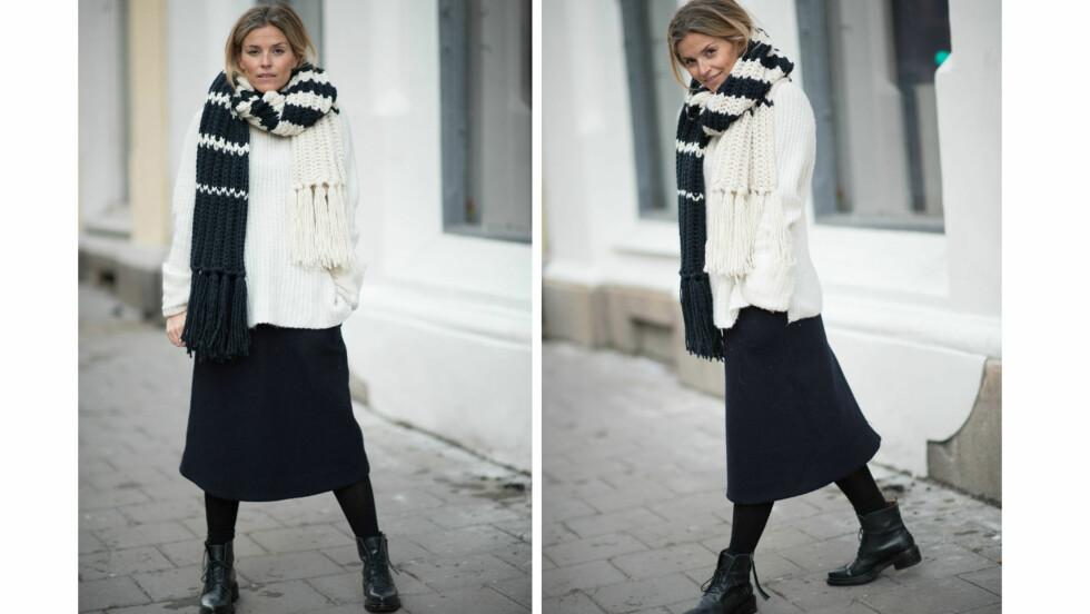 DAGENS BLOGGSTIL: STYLEmag-blogger Janka Polliani bruker ullskjørt over tettvevde strømpebukser om vinteren.  Foto: Polliani.com