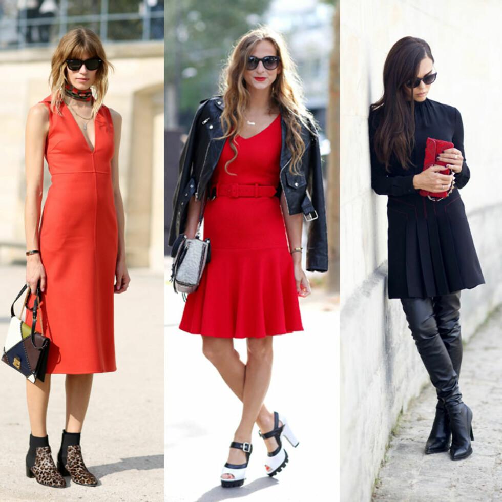 <strong>RØDT I FOKUS:</strong> La fargen få skinne i form av en kjole eller la den røde vesken få skille seg ut fra det svarte antrekket. Foto: All Over
