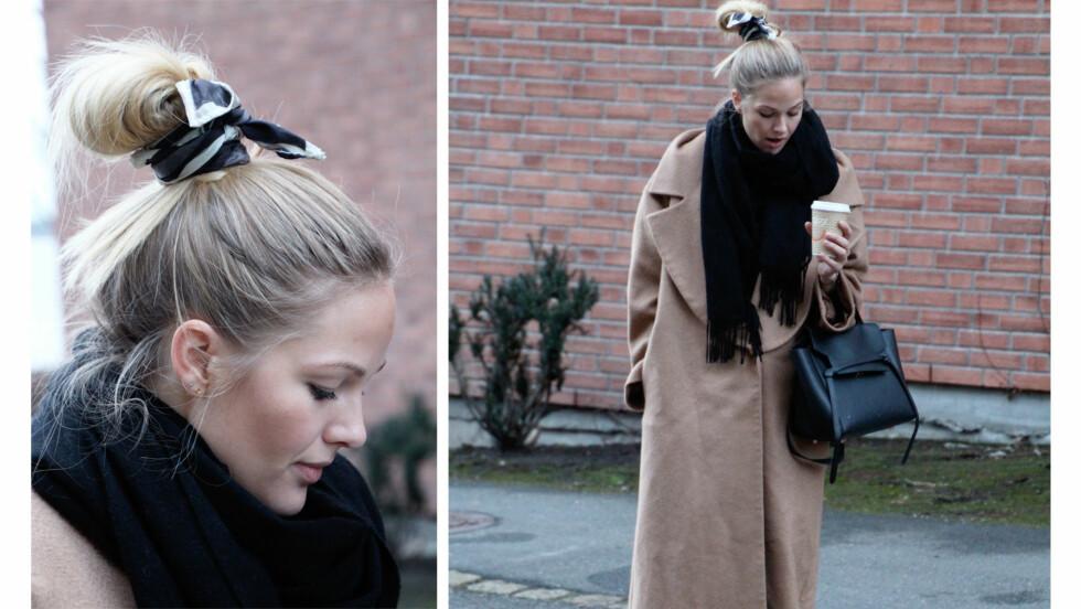 DAGENS BLOGGSTIL: STYLEmag-blogger Maria Skappel piffer opp hårknuten ved å knyte et tørkle rundt den.  Foto: Mariaskappel.no
