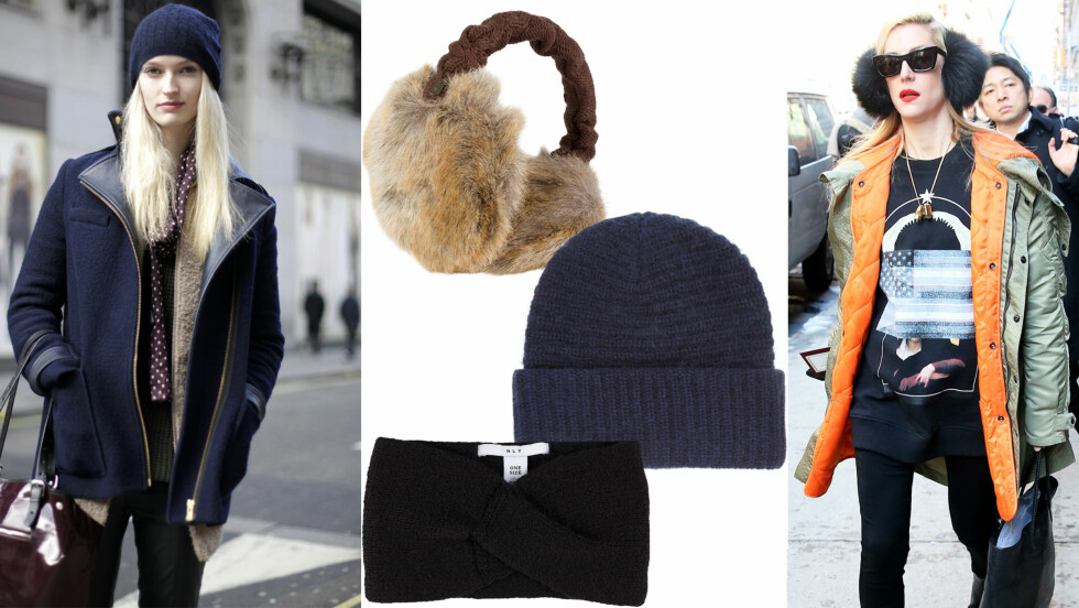 VARME & STIL: La deg inspirere av motekjennerne når du velger hodeplagg denne vinteren!  Foto: All Over, Produsentene, Net-a-porter.com