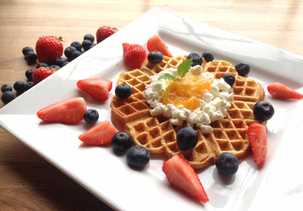 SUNNE FROKOSTVAFLER: Linda Marie Stuhaugs sunne frokostvafler.  Foto: Linda Marie Stuhaug