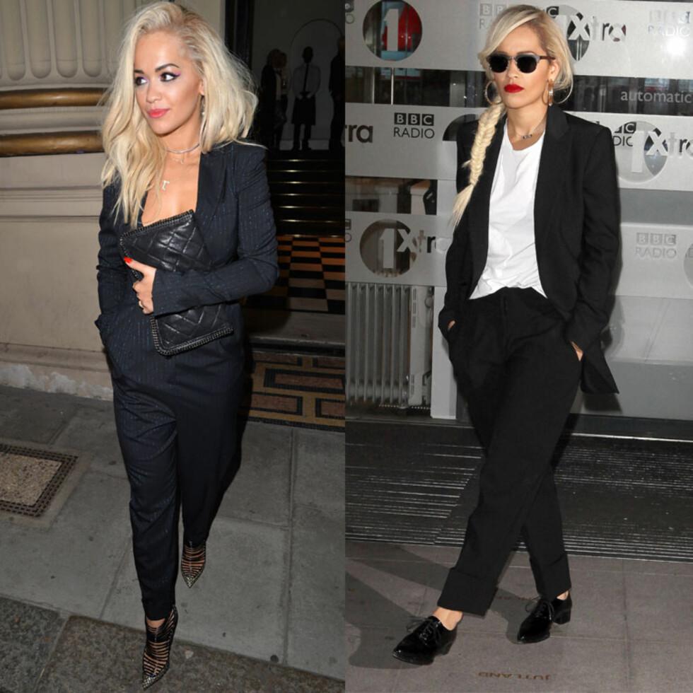 DETALJER: Legg merke til de glitrende, blå stripene i dressen til Rita Ora i bildet til venstre. Foto: All Over