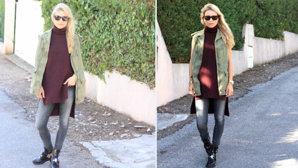 DAGENS BLOGGSTIL: STYLEmag-blogger og stylist Line Langmo kombinerer to av vinterens store trender i samme plagg.  Foto: Linelangmo.no