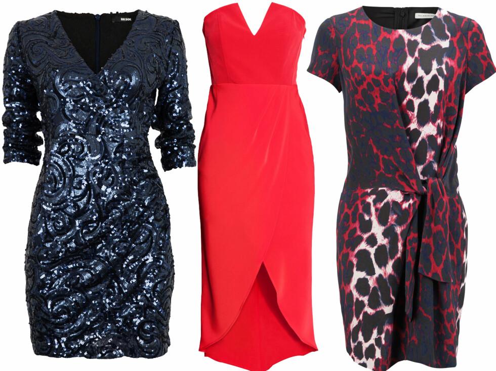 V-HALS, STROPPELØS ELLER OMSLAG: Perfekte kjolesnitt for eplefasonger. Med blå paljetter (kr 600, Bik Bok), i rødt med høyt liv (kr 400, H&M) og med omslag (kr 4000, FWSS). Foto: Produsenter