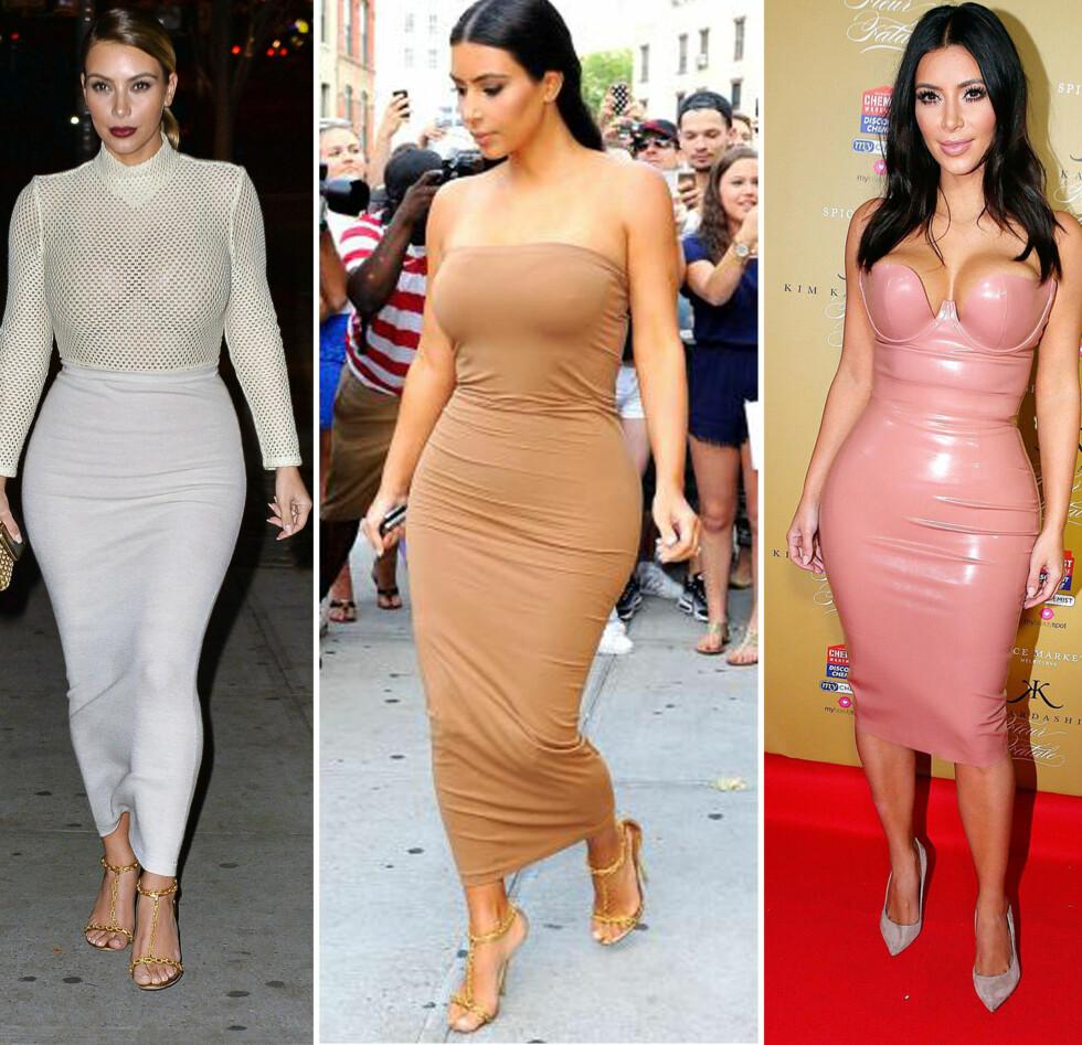 TRE NYANSER AV NUDE: Kim Kardashian elsker å kle seg i lyse duse toner. Foto: All Over Press