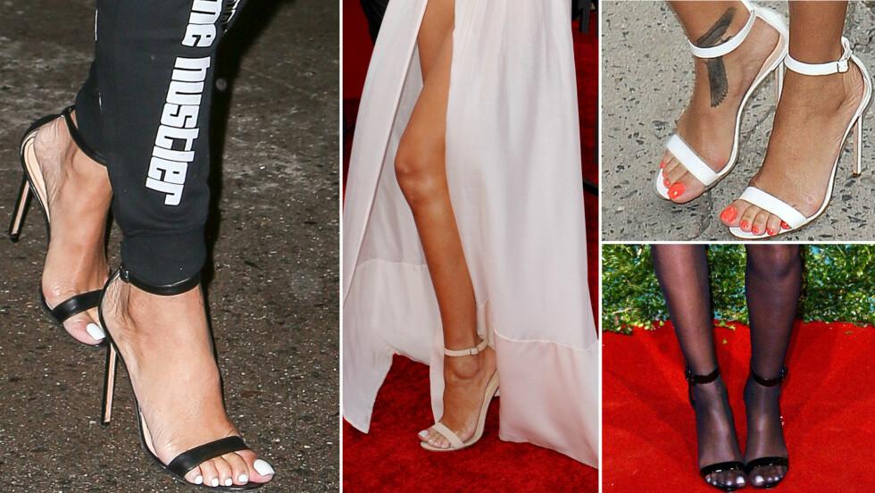 DERFOR ER HUN SÅ GLAD I MANOLO BLAHNIKS CHAOS-SANDALER:: Rihanna har funnet et par sko hun kan bruke til alt, om det så er en treningsbukse, en hvit gallakjole eller et par turkise ullshorts. Foto: All Over Press