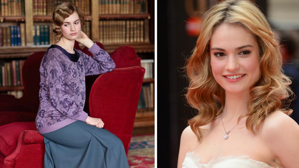 FRA DOWNTON ABBEY TIL FILM: Lily James, kjent som Lady Rose i Downton Abbey, spiller Askepott i ny film.  Foto: All Over Press