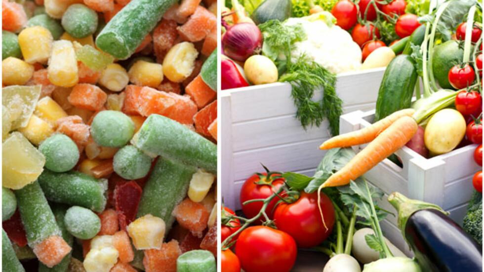 FROSNE ELLER FERSKE? De frosne grønnsakene har kanskje mer vitaminer enn ferske, men ernæringsfysiologen vil likevel anbefale at du bruker ferske grønnsaker hvis du er mest opptatt av smak.  Foto: Collage/Fotolia