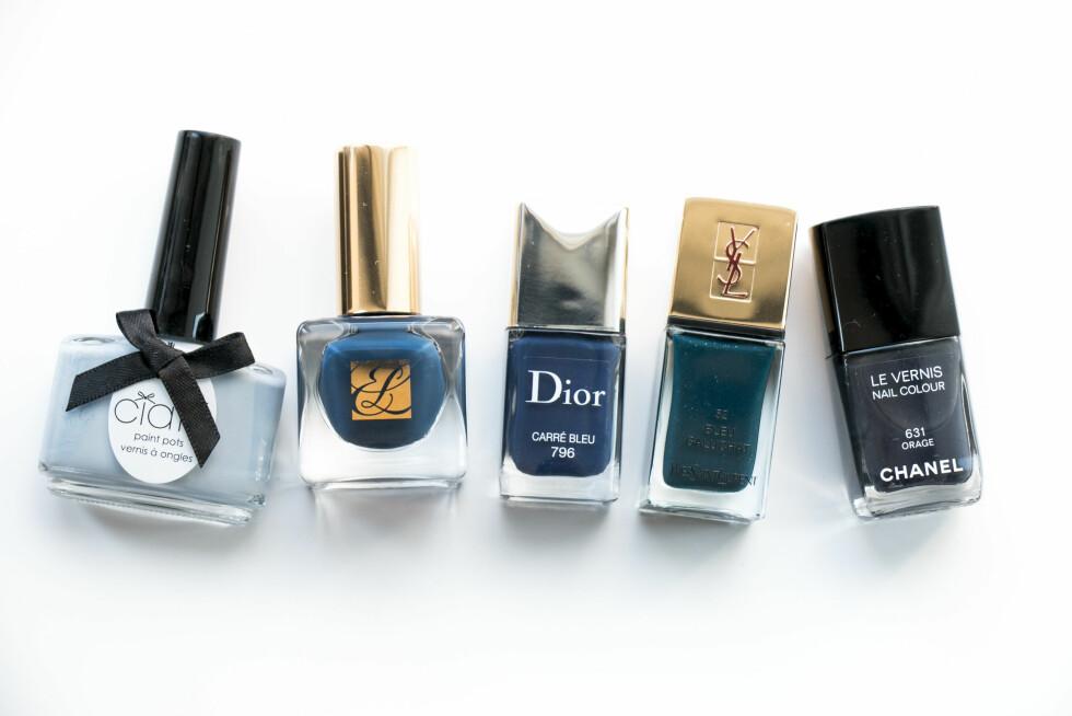 BLÅTT: Orage (kr 250, Chanel). Carré Bleu (kr 230, Dior). Bleu Galuchat (kr 225, YSL). Diva Moment (kr 220, Estée Lauder). Chinchilla (kr 130, Ciaté). Foto: Per Ervland