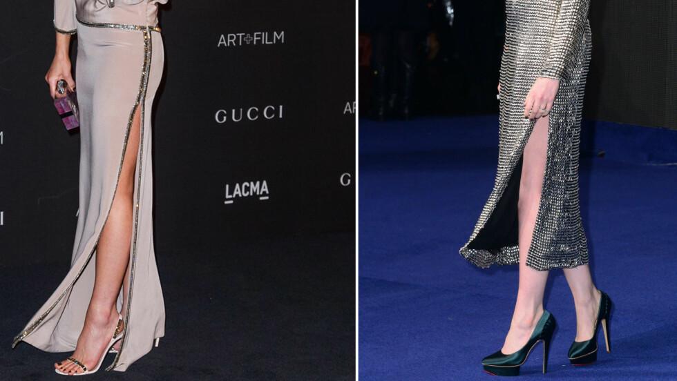 HØY SPLITT ER MODERNE DENNE HØSTEN: Og velger du riktig kjolemodell og strømper, føles ikke kjolen like utfordrende lenger... Foto: All Over Press