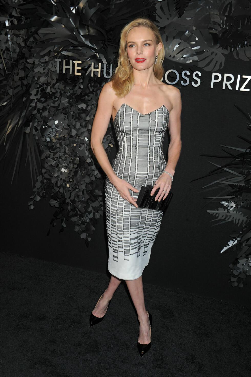 STILIKON: Kate Bosworth i lekker kjole på Hugo Boss-prisutdeling på Guggenheim Museum i New York nylig. Foto: Splash News/ All Over Press