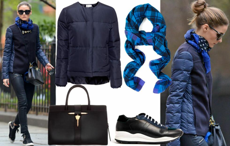 Få Olivia Palermos blå og svarte høstlook