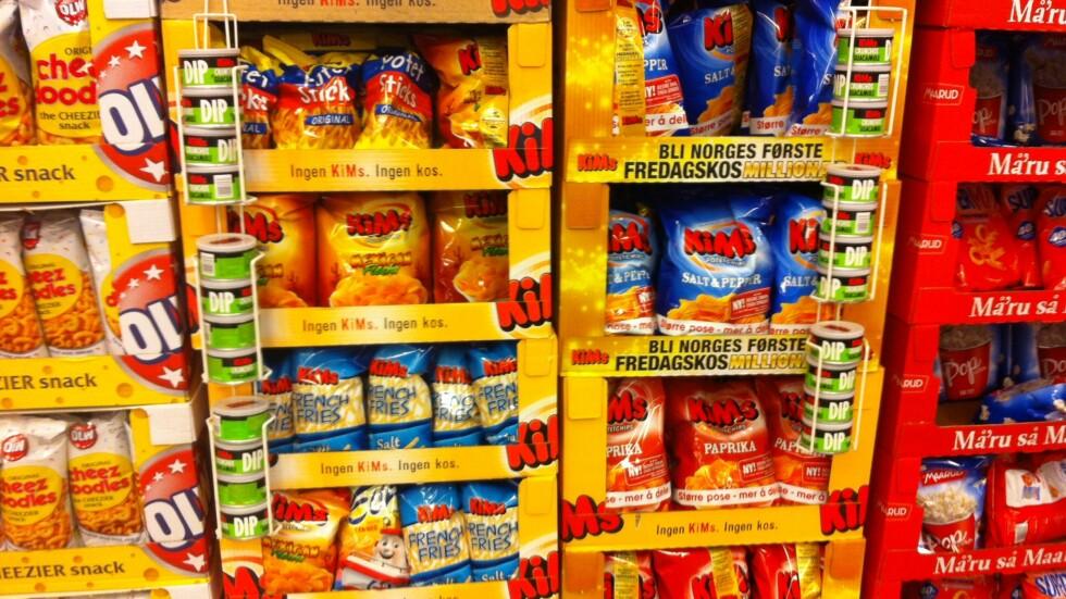 <strong>FOLKEFAVORITTER:</strong> Ja, vi elsker snacks, og det er spesielt potetchips som er folkets store favoritt.  Foto: Stine Helén Tunstrøm