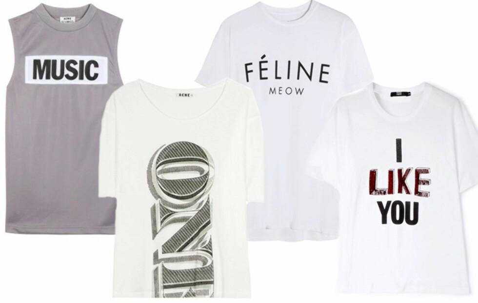 Si det med T-skjorten! 10 kule T-skjorter med typografi-print