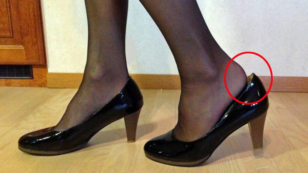 GLIPPER SKOEN? Den glatte strømpebuksa kan få skoen til å glippe. Heldigvis finnes det råd! Foto: Silje Ulveseth