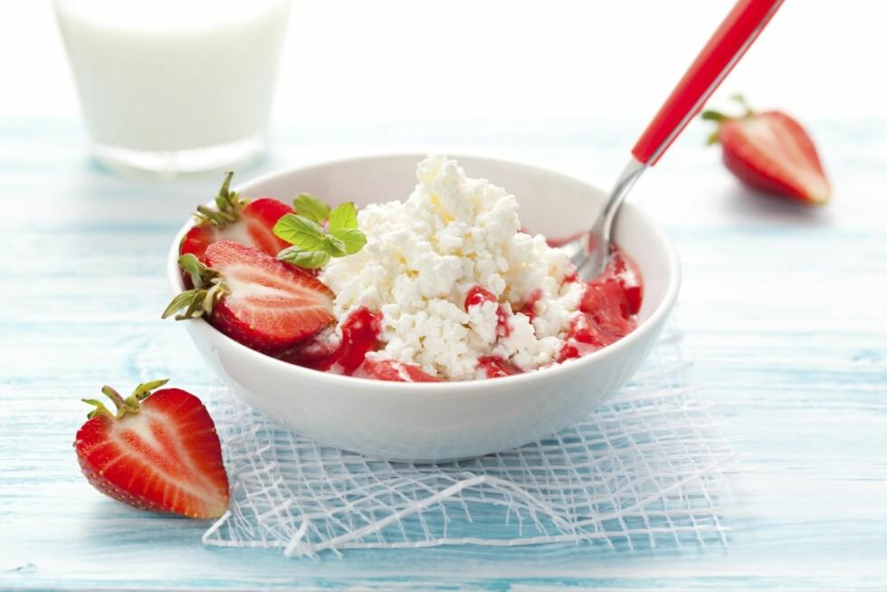 GODE PROTEINER: Cottage cheese er en viktig og god kilde til proteiner.  Foto: Fotolia